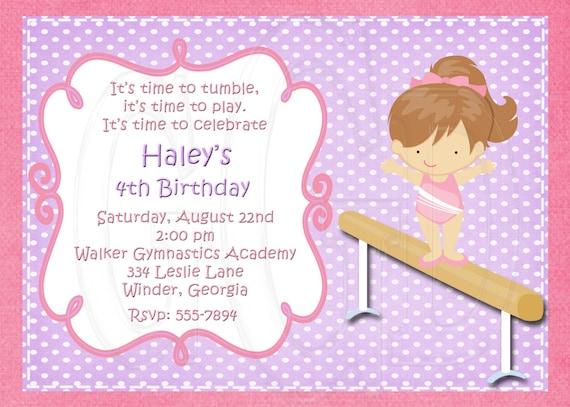 Gymnastics Birthday Party Invitation 3 COLOR options-Digital File