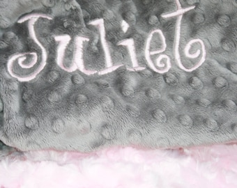 Baby Pink Swirl and Gray Minky Dot Personalized Baby Blanket Standard Size