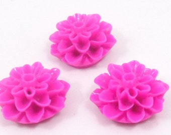 20 pcs. Hot Pink resin flowers cabochons , 15mm