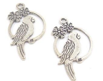 10 pcs. Nickel birds charms , Size: 15x28mm