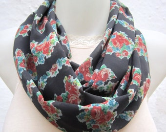 Flower Print infinity Scarf, Spring Accessories, Loop Scarves, Women Chiffon Necklace, Floral Circle, Tube, Neckwarmer, Wrap, Grey Red Green