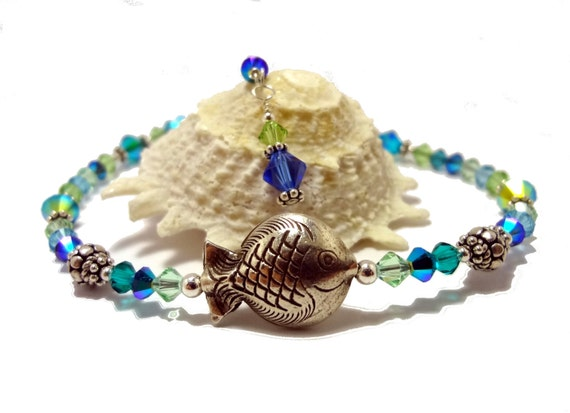 Anklet Sterling Silver Hill Tribe Fish Sea Greens Blues Swarovski Crystal Bali Beads