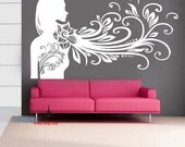 Beauty flower girl 40inch----Removable Graphic Art wall decals stickers home decor