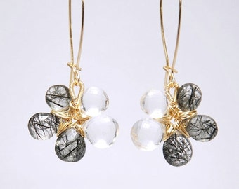 Grade AAA Micro Faceted Crystal Quartz and Tourmalinated Quartz 14K gold filled earrings - ready to ship