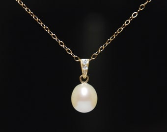 Freshwater pearl necklace,  high quality freshwater pearl necklace, 14K gold filled necklace, everyday necklace, jewelry gift