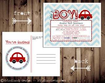 Printable POSTCARD Chevron CAR baby shower invitation -- A Custom postcard Digital or Printed for you