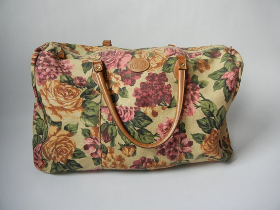 Vintage Floral Duffle Bag Big Duffle Bag By Littleraisinvintage