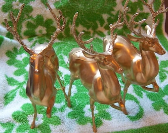 plastic deer with glittery horns ornaments