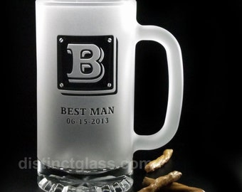 "Gifts for Best Man - ""3D-TILE"" MONOGRAM FROSTED Beer Mugs, Initial Beer Mugs Monogram Beer Mugs Monogram Gifts for Men - Ships to Canada"