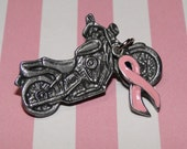 4  Motorcycle Pins with Pink Ribbon Breast Cancer Awareness