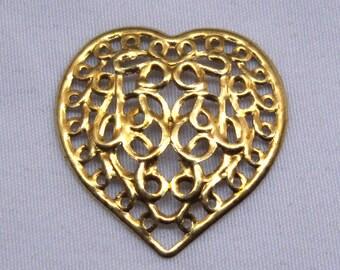 10pcs 21mm Heart Filigree Raw Brass Findings Gold Metal Supplies bf063