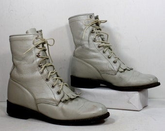 Vintage grunge granny combat barn boot riding womens white bone cowboy western oxford pixie justin lace up 6.5 M B
