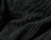 merino wool jersey fabric : light weight black rib