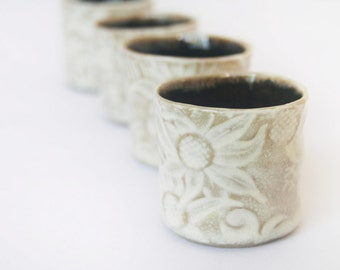 Shot cups or sake cups - set of 4 in Australian flannel flower design.