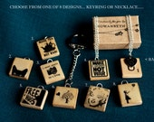Wooden Scrabble Tile Banksy/Marilyn/Tea/Cat/Camera - Necklace/Keyring