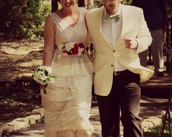 Wedding dress- The New Tattered Ranch Style- Custom- your colors and size