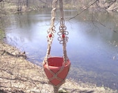Daisy Chain Macrame Plant Hanger With Sunset Red Beads