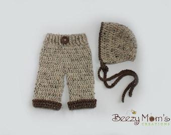 Download PDF crochet pattern s015 - Newborn classic bonnet and pants