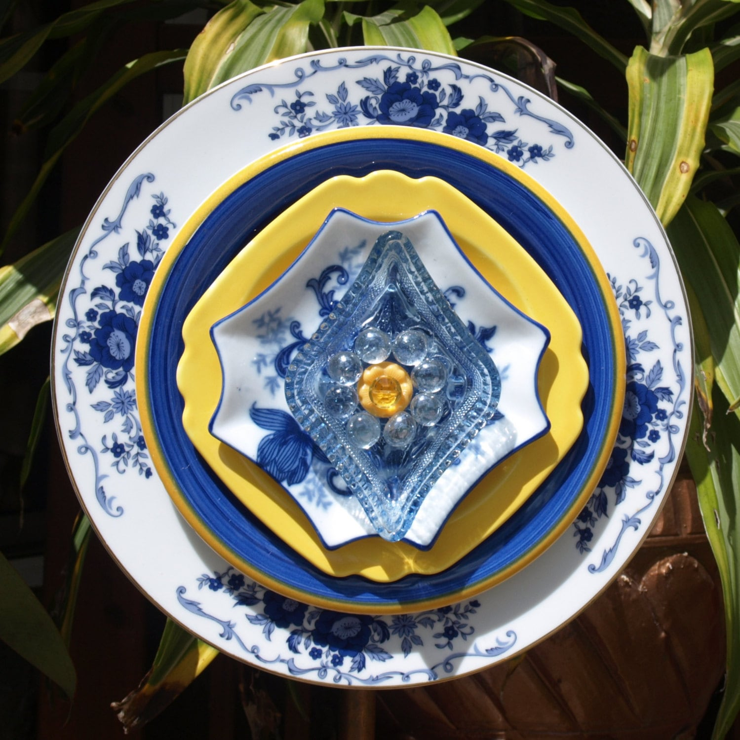 Blue Yellow Repurpose Glass Plate Flower Vintage