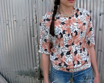 Vintage 1980s  FLORAL Blouse with PINK Orchids and Pleating