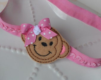 Little Monkey Pink Ruffled Headband