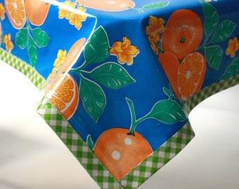 68 x 102 Oranges Blue Oilcloth Tablecloth