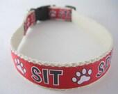 Hemp dog collar - Sit, Stay, Speak