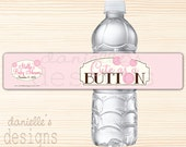 Cute as a Button - Soft Pink Personalized Baby Shower Waterproof Water Bottle Labels  - 21 Labels
