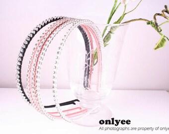 12PCS-4MM Handmade Metal Headband wrapped with Satin Ribbon,Cubic (G126)