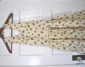 sale- Vintage Floral and Dots Pastel Yellow Halter A Line Dress