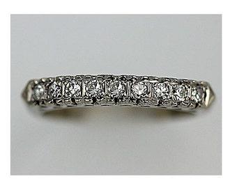 Platinum Wedding Band Diamond Antique .30ctw Eternity Ring Ring Stacking Ring Ladies Wedding Ring Thin Wedding Ring Diamond Band Size 5.25!