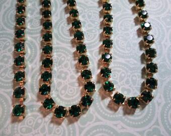 3mm Emerald Green Rhinestone Chain - Brass Setting - Preciosa Czech Crystals