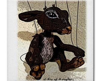 Rabbit Marionette ceramic tile coaster