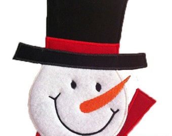 Snowman Face Applique - Machine Embroidery Design file  (001)