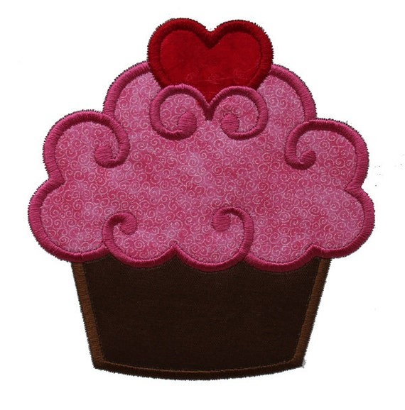 Cupcake with Heart Applique Machine Embroidery Design (018)