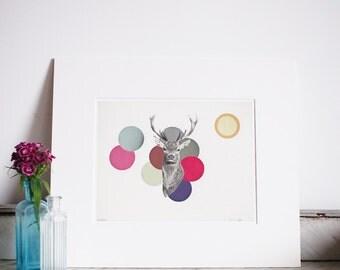 "Hidden. Matted 8x10"" Giclee print - Animal art, deer print, stag head, antlers, nursery decor, kids room art, baby"