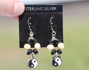 YingYang Bone Earrings with Black Beads Designed in Sterling Silver
