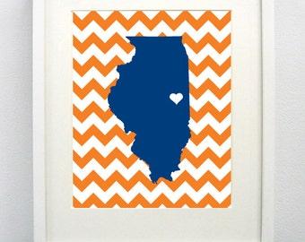 Urbana-Champaign, Illinois State Giclée Map Art Print  - 8x10 - Graduation Gift Idea - Dorm Decor