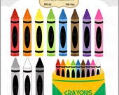 Crayons Clip Art Set - Personal and Commercial Use - Digital Instant Download