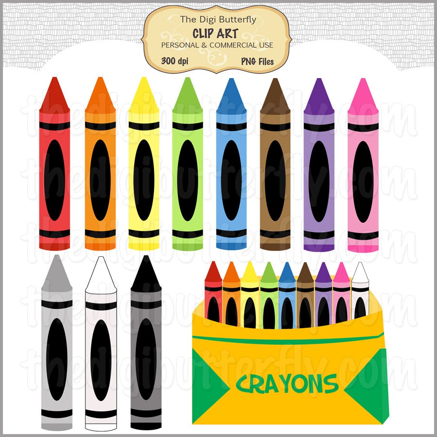 Crayons Clip Art Set Personal and Commercial Use DigitalCrayon Markers Clipart