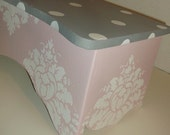 Custom Bookcase  Wall Shelf PINK and Gray NURSERY Shelve Shelfs Damask Grey Kids and Baby
