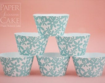 Cupcake Wrapper, Blue And White Sugar, Printable Set For Your Wedding, Birthday Or Any Day - Simply Print, Cut, Assemble, Enjoy