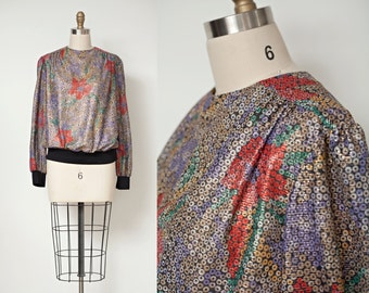 Vintage 80s Blouse Top Sheer Metallic Circle Floral Long Sleeves ONE SIZE / Free Shipping