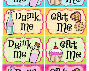 Printable DIY Drink Me and Eat Me Party labels