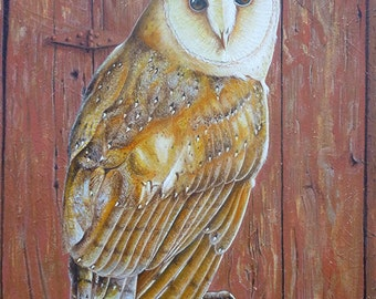 SALE!!!!Original Painting Fine Art Portrait Bird Barn Owl Modern Lana Wynne