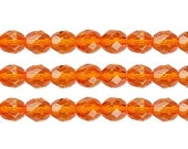 Czech Faceted  Round  Fire Polished Glass Beads.  Preciosa Orange 12mm 16 Inch Strand