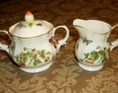 RESERVED for Carleen Tucker Ardalt Butterflies and Strawberries Sugar Bowl and Creamer