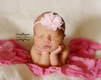 Pink Headband, shabby chic, newborn headband, baby headband, newborn photography prop