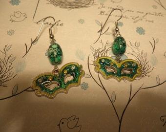 Green Mardi Gras Mask Earrings