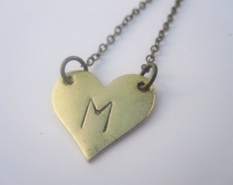 Initial Necklace Heart Necklace Personalized Jewelry Heart Mother's Day Jewelry Personalized Necklace Brass Jewelry Handmade